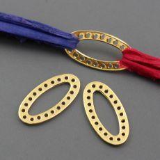 Łącznik metalowy owal złoty 25x13mm