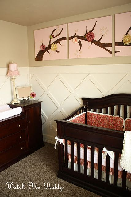 Loving the criss cross wall: Wall Art, Criss Crosses, Wall Treatments, Boards And Batten, Baby Girls, Baby Rooms, Girls Nurseries, Girls Rooms, Kids Rooms