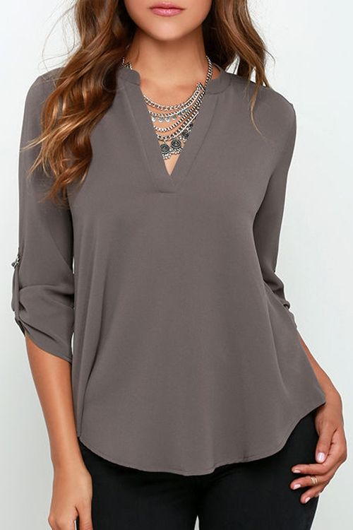 Rolled Sleeve Solid Color Blouse