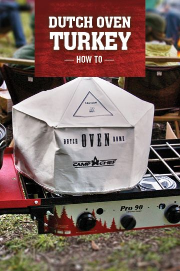 Did you know you can cook turkey in a Dutch oven? If you can find a small turkey and a large oven, you can try this unique recipe for Thanksgiving. It only takes about 2 hours to cook, and you'll have plenty of indoor oven space for your side dishes.  http://www.campchef.com/recipes/turkey-in-a-dutch-oven/