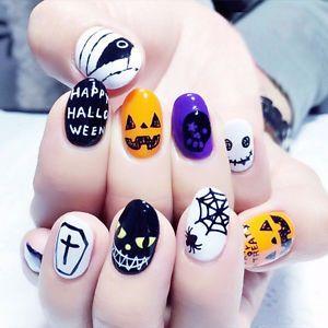 NEW 24pcs Halloween Skull Pumpkin Short False Fake Nails ...
