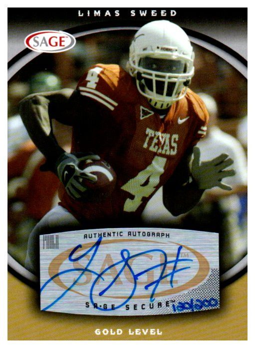 2008 Sage Limas Sweed Gold Level Autograph Card /200 Pittsburgh Steelers