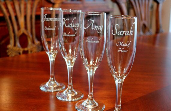 5 Engraved Champagne Flutes  Personalized by EngravingByT on Etsy