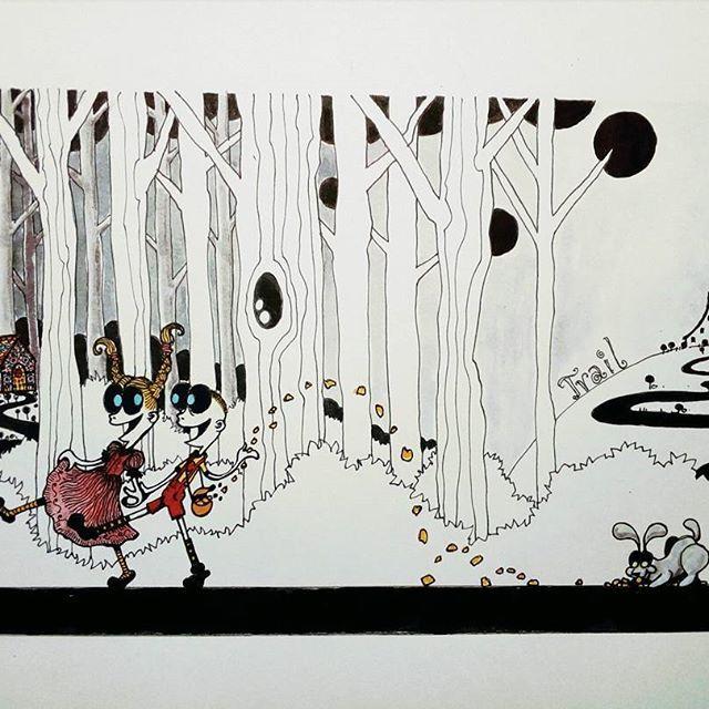 Inktober day 22 -Trail- #inktober #inktober2017 #inktoberday22 #inktoberprompts #ink #penandink #brushandink #brushpen #copic #bmitchleyart #koibrushpen #trail #hanselandgretel #character #comic #southafricanartist #southafrican #southafrica #artist #artistoninstagram #art #illustration #dailysketch #drawingink