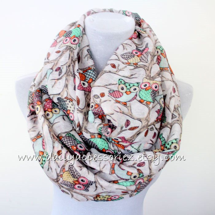Off White Owl Infinity Scarf Owls Scarf Tree Branches Cute Scarf Fall Scarf Soft Scarf Large Scarf Christmas Gift Holiday Gift Shopping by dailyaccessoriez on Etsy https://www.etsy.com/listing/215130183/off-white-owl-infinity-scarf-owls-scarf