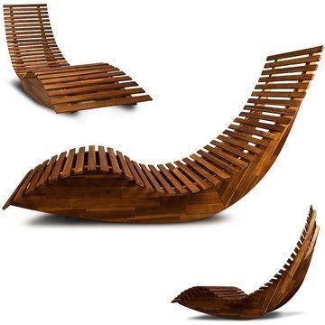 Wooden Sun Lounger - Garden Patio Deck Chair Curved Sauna Seat