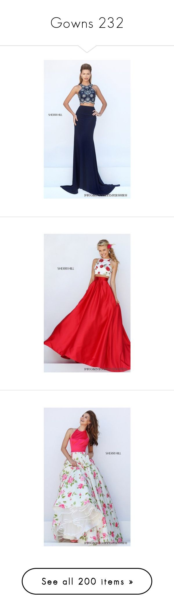 """""""Gowns 232"""" by singlemom ❤ liked on Polyvore featuring dresses, beaded prom dresses, navy blue dress, navy blue prom dresses, sherri hill dresses, navy blue cocktail dress, 2 piece prom dresses, sherri hill two piece, sherri hill and two piece prom dresses"""