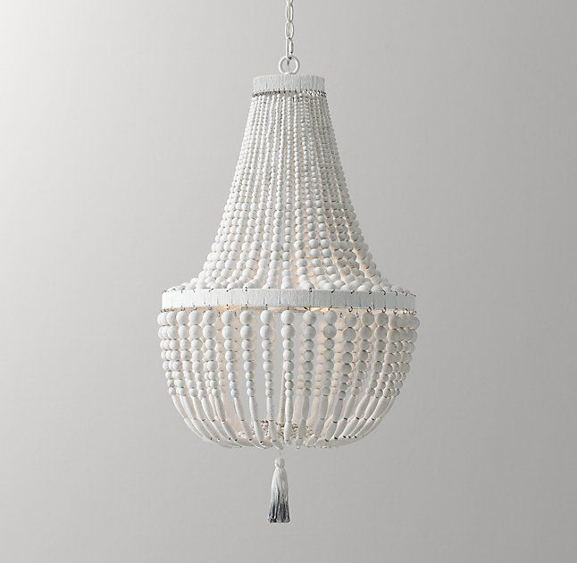 rh baby u0026 childu0027s dauphine wood empire chandelier weathered whitewith its shapely grandeur - Wood Bead Chandelier