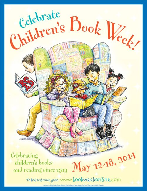 Celebrate Children's Book Week! poster depicts childen sitting in oversized armchair reading books, May 12-18, 2014, USA