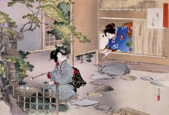 ukiyo-e: print depicting the art of the tea ceremony by Mizuno Toshikata   This one is more traditional in setting(in terms of subject matter) as compared to his other works, which show the modernized military of japan