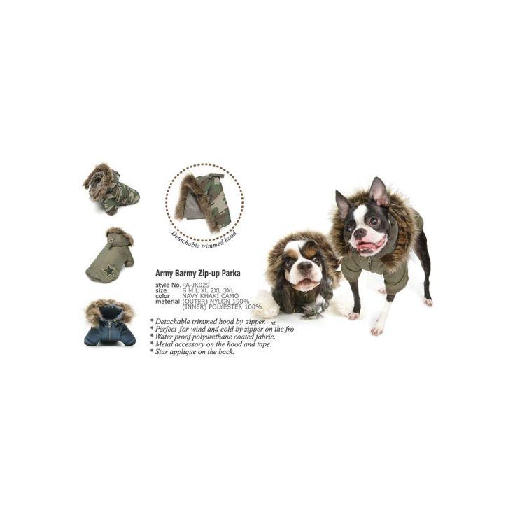 CHAQUETA ARMY BARMY,   chaqueta para perro de la firma Puppy Angel, perfecta para días fríos, de viento o lluviosos. Exterior: Poliéster 100% , Interior: Nylon 100% http://bit.ly/1Oo4CJU