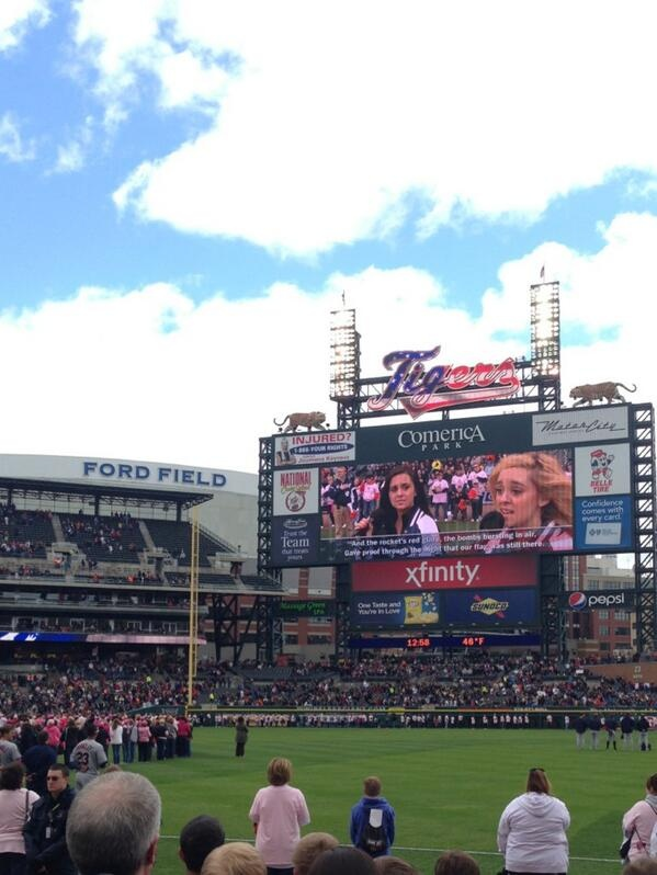 #Meganandliz performing the national anthem at the Detroit Tigers game today! :)