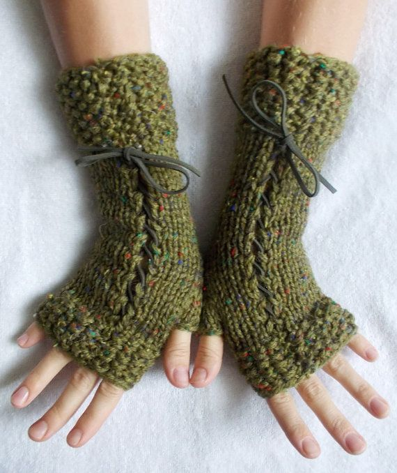Green Hand Knit Fingerless Corset Gloves Arm Warmers by LaimaShop, $34.00