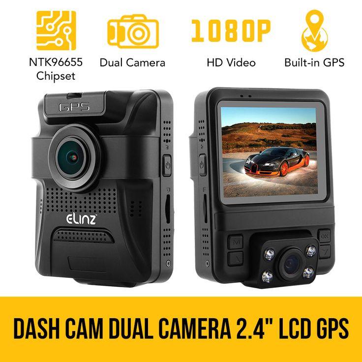 Dash Cam Dual Camera Car DVR Video Rotatable Lens 1080P HDMI GPS 150° Novatek