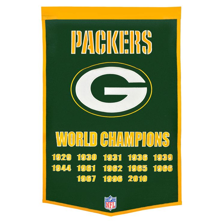"""This beautifully embroidered 24"""" x 38"""" """"Dynasty"""" banner commemorates the Super Bowls and NFL Championships won by the Green Bay Packers. This unique banner design celebrates the team's dynasty."""