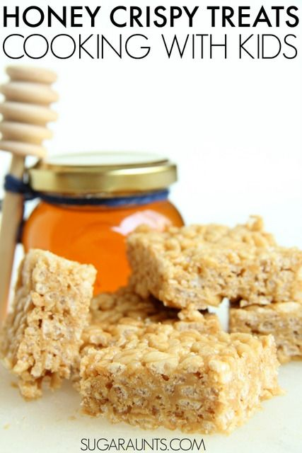 Make rice krispy treats with honey instead of marshmallow! This sweet treat is a fun recipe for cooking with the kids!