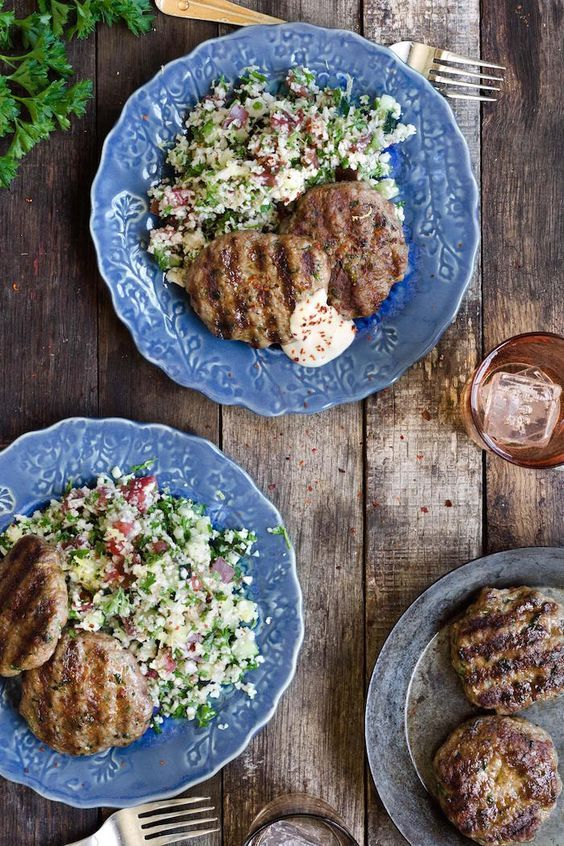 "Spiced Lamb Patties with Cauliflower ""Tabbouleh""!  #Paleo #Whole30"