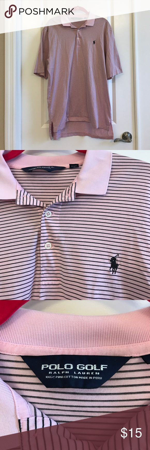 Ralph Lauren Polo Golf Shirt Polo Golf pink and black polo. Black pony. Great shape. Pima cotton, lighter/softer material for the sport. RL Polo Golf is a sponsor for PGA Tour players Justin Thomas and Smylie Kaufman, as well as many others. Fits more like a large. Polo by Ralph Lauren Shirts Polos