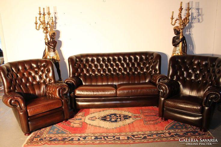 Chesterfield, antik konyak színű bőr ülőgarnitúra 3-1-1!