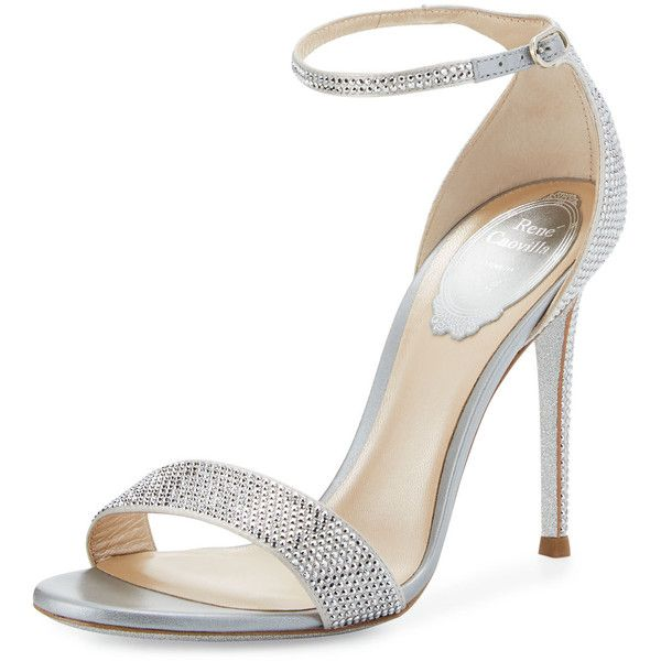 Rene Caovilla Crystal Ankle-Wrap 105mm Sandal ($1,590) ❤ liked on Polyvore featuring shoes, sandals, silver, crystal sandals, strap high heel sandals, open toe shoes, ankle wrap sandals and glitter shoes