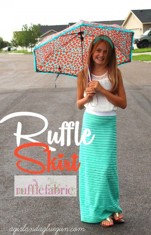 the easiest maxi skirt using ruffle fabric! - A girl and a glue gun