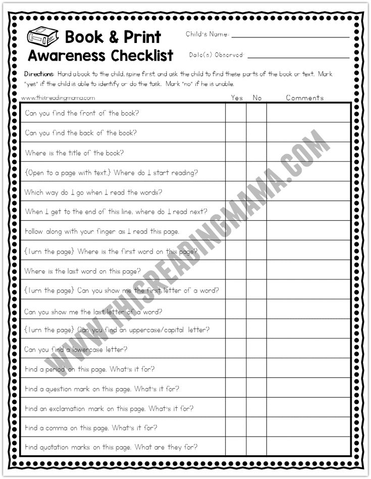 What book and print awareness concepts does a young reader need to know? Check out this list...from A to Z!