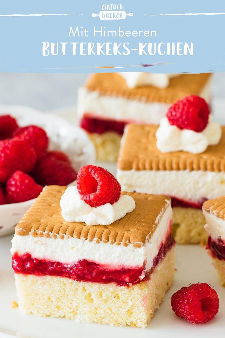 Butterkekskuchen mit Himbeeren   – Blechkuchen – schnelle & einfache Rezepte