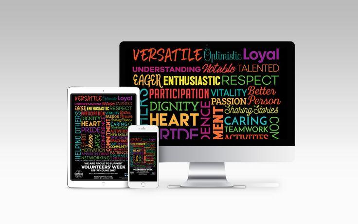 VOLUNTEERS' WEEK 2017 – Full online digital marketing campaign poster for Volunteers' Week 2017 on full digital devices. #digitalmarketing #onlinemarketing  #imagepost #digitalposter #volunteersweek #volunteer #iPad #iPhone6 #desktopscreen