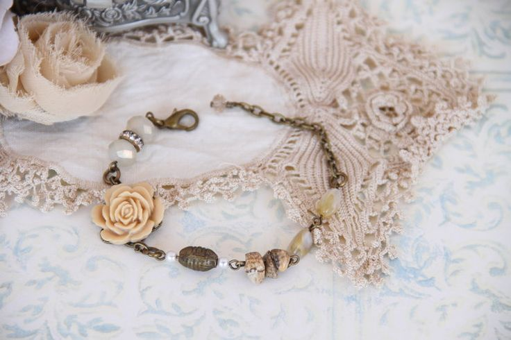 Creamy brown vintage style bracelet by Heart Jewelry Creations