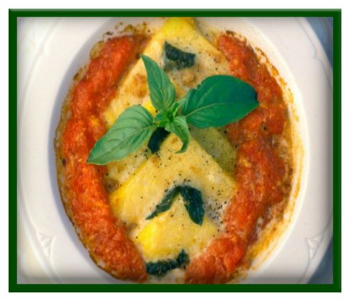 Baked polenta with mozzarella & spinach http://www.ibssanoplus.com/low ...