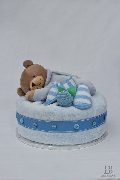 Slumberbear Nappy Diaper Cake Blue Boy
