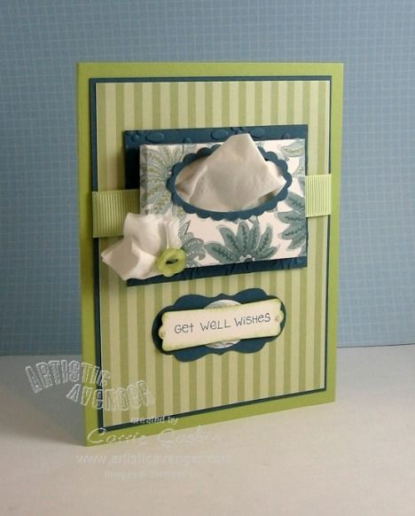 Get Well Tissue box card/box:3 X 2 1/4 score at 1/4 and 1/2 on each side, fold under, cut corners out (opened back box to put tissue inside)