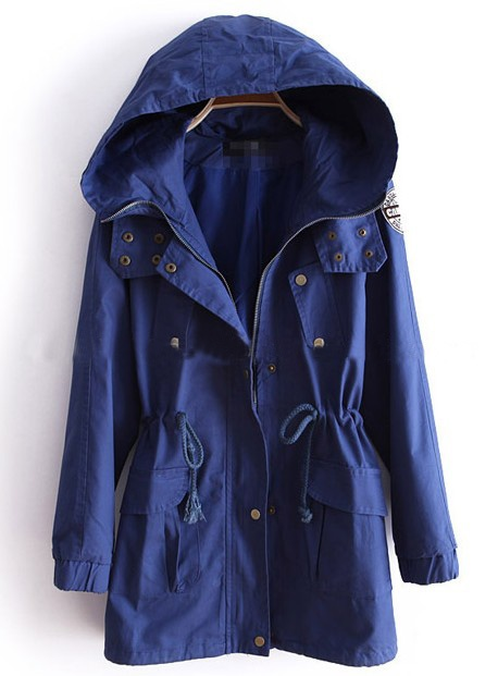 Blue Hooded Long Sleeve Drawstring Trench Coat
