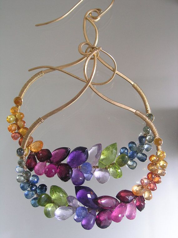Kisses and Jewels...Sapphires Ruby Garnet by bellajewelsII on Etsy, $328.00