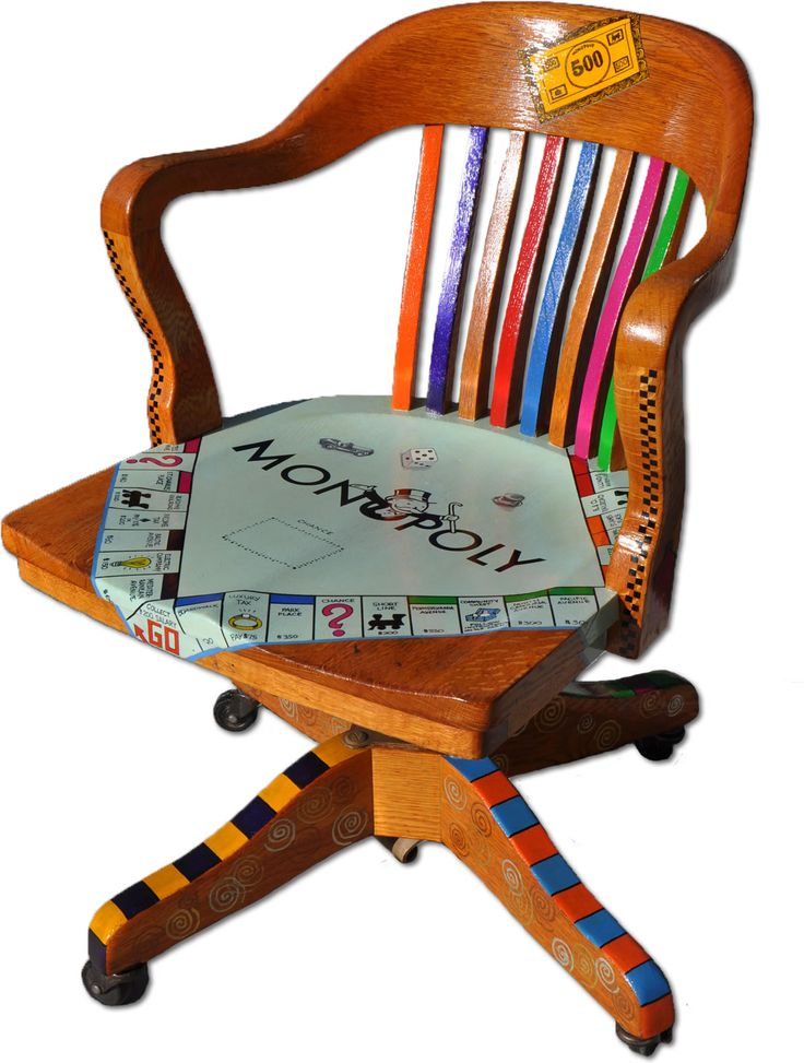 Monopoly Chair... I'm torn, I generally prefer to leave wood in it's natural stained state, but this is soo cool.