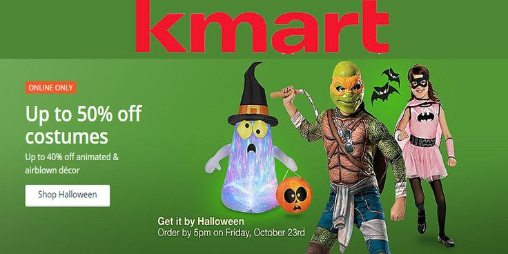 Get up to 50% discount on kid's Halloween costumes + 40% discount on animated & air blown decor. For more Kmart Coupon Codes & Discount Codes visit: http://www.couponcutcode.com/stores/kmart/
