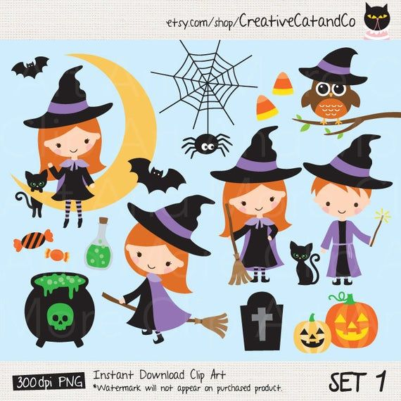 Halloween Kid Clipart Cute Little Witch Wizard Trick Or Treat Etsy Halloween Kids Kids Clipart Halloween Clips