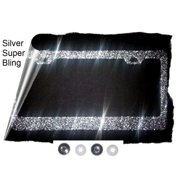 BEST SELLER sparkly silver large glitter with sparkly rhinestone cap covers silver metal License Plate Frame