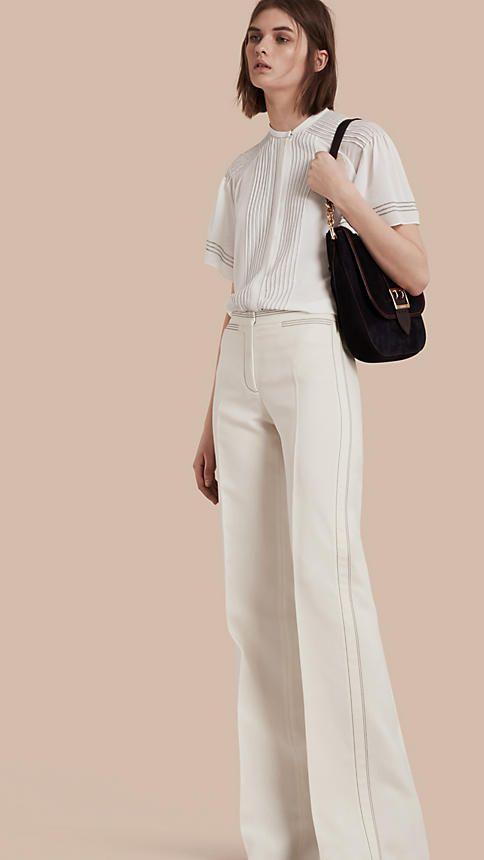Blanco Pantalones acampanados en lana y seda - Imagen 2