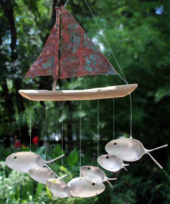 Copper and Driftwood Windchime Seven Sailing by nevastarr on Etsy, $64.95