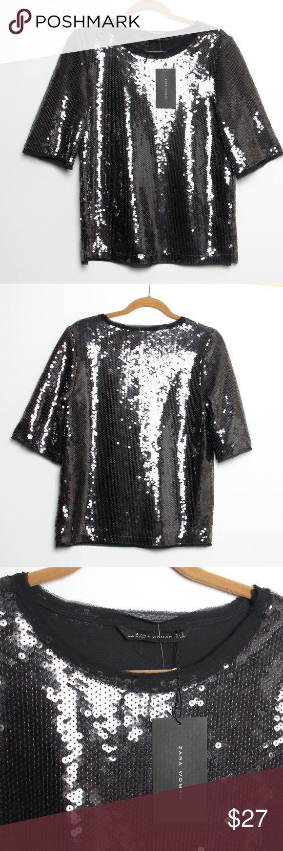 """NWT Zara Woman - Black Sequin short sleeve top Black Sequined short sleeve top by Zara Woman.  Size is S, but runs larger, more like a M or even a small L.  Please see measurements.  Lined with a chiffon like material, which is also attached at the bottom of sleeves and hem and peaks out under the sequined material.  Approximately: Bust laid flat pit to pit: 20"""" measures the same at waist and bottom hem Length from middle of shoulder to hem: 24"""" Fabric content: 100% polyester Sleeve Length…"""