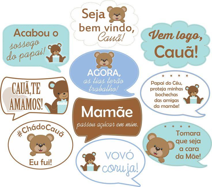 Plaquinhas p/ Chá de Bebê - Tema Ursinho | Funny Plaquinhas Divertidas | Elo7