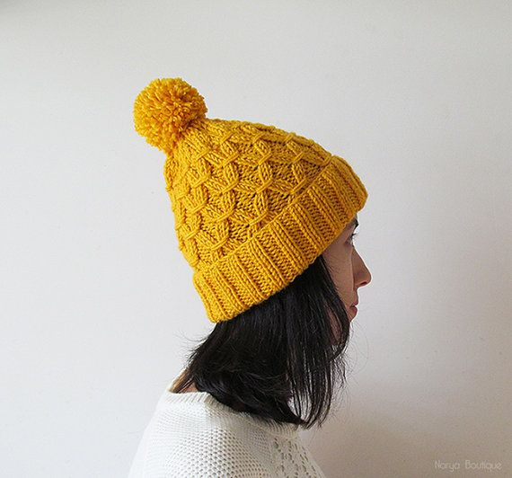 Hand Knitted Hat in Yellow  Beanie with Pom Pom  Seamless