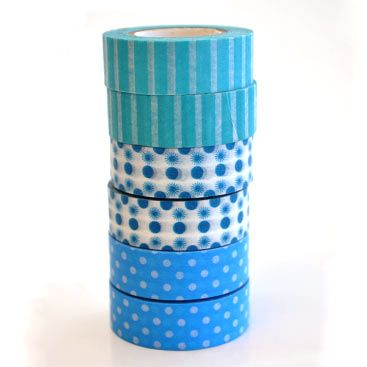 Our blue Washi Type range for R7/role. Go check out our online shop | Paradise Creative Crafts cc