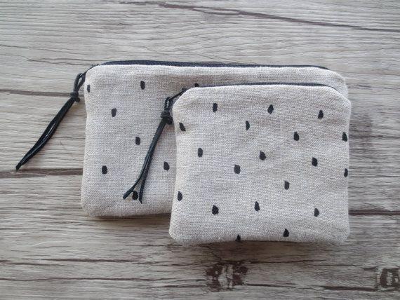 set COIN purse + PENCIL CASE, Linen, Polka Dots, Black Dots, Zipper Pouch, Credit Card Case, black and white, Make Up Bag , bag organizer