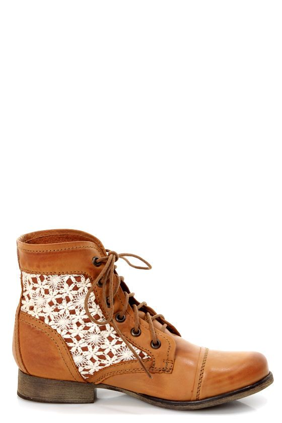 0d32a241192 Steve Madden Thundr-C Cognac Multi Crocheted Lace-Up Ankle Boots -  99.00