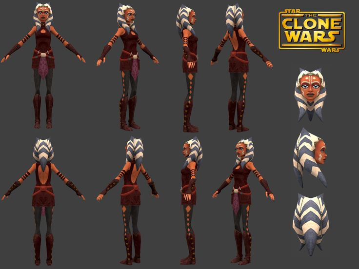 S3+ Ahsoka Tano 360* Model Sheet.The model itself came from the Clone Wars Adventures MMO, which recently shut down close to a month ago.It's the best reference we'll get, unless Disney/LucasFilm decides to release their own model sheet. Edit: Now with Head Shots