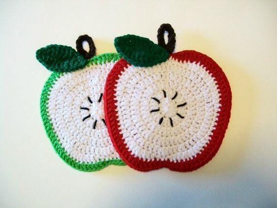 Apple Pot titulaires rouge vert au Crochet tranche Fruit des maniques manique Manique cuisine de cadeau de pendaison de crémaillère