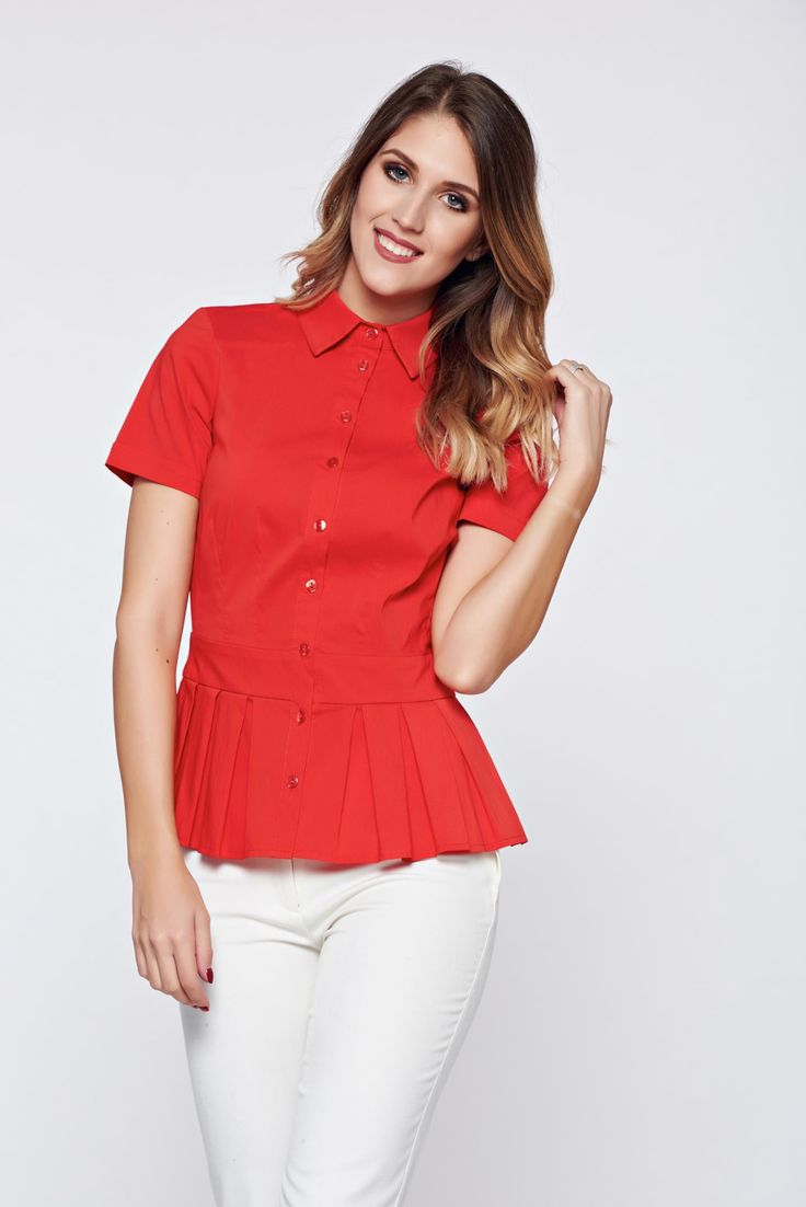 PrettyGirl red women`s shirt office pleats of material, women`s shirt, short sleeves, pleats of material, with buttons, nonelastic fabric