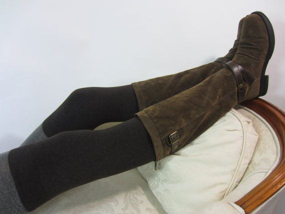 Cashmere Socks Over The Knee Socks Thigh HIgh Leg by Vacationhouse  dark cocoa brown or light brown, please!